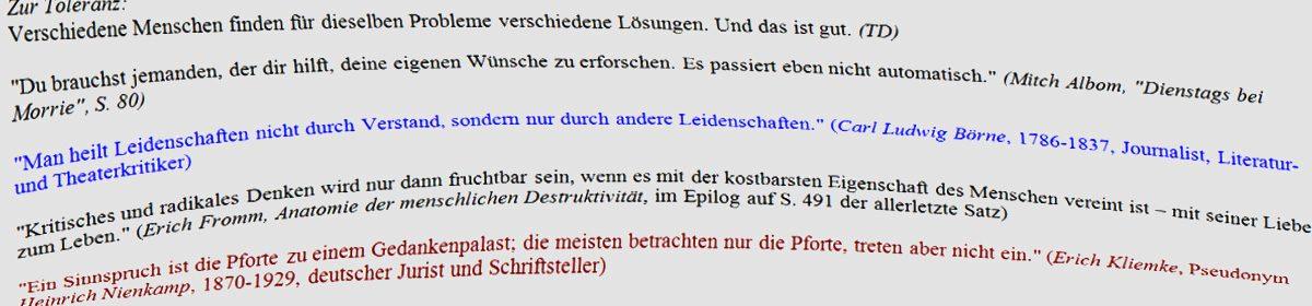 Zitatesammlung Tilmann Denk